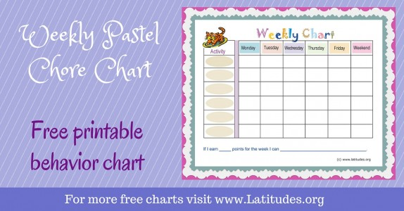 Weekly Pastel Activity and Chore Behavior Chart