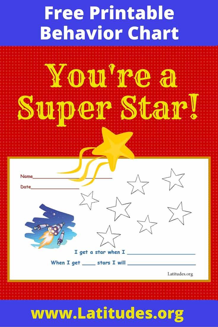 free behavior chart  super star