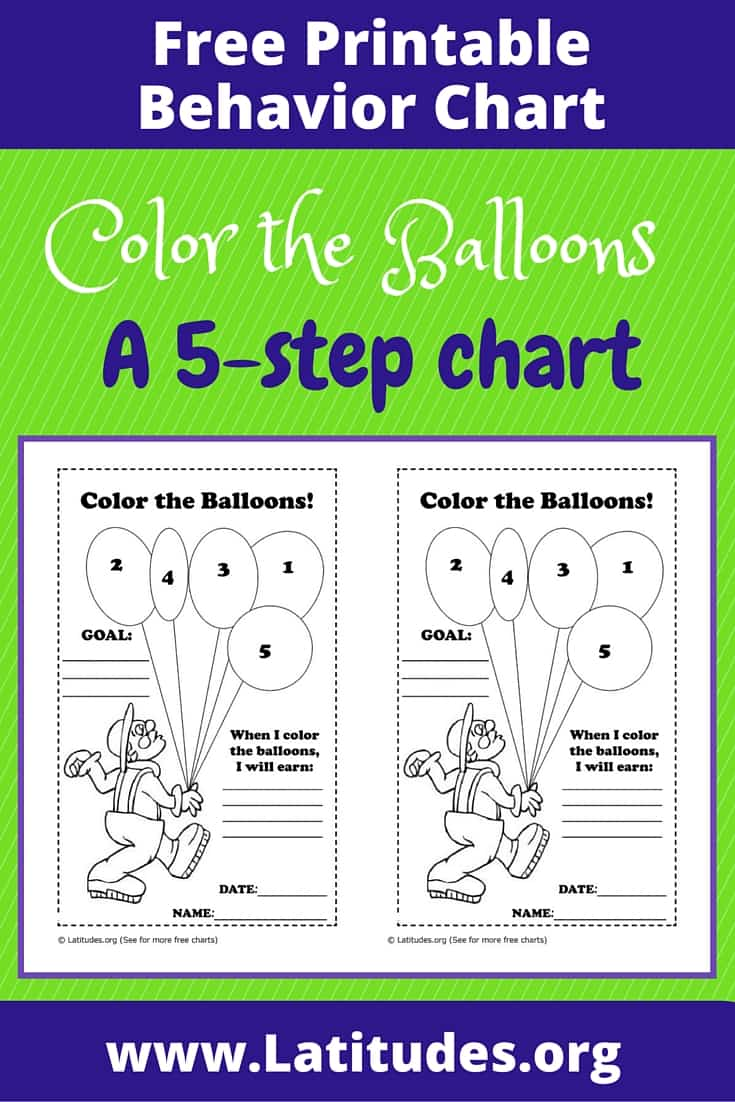 FREE Color the Balloons Behavior Chart