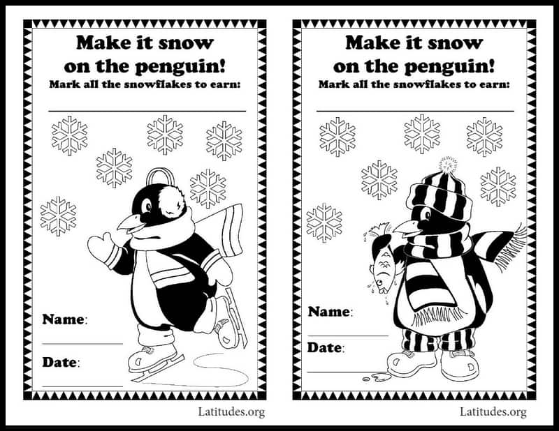 Snowflake penguin sticker behavior chart