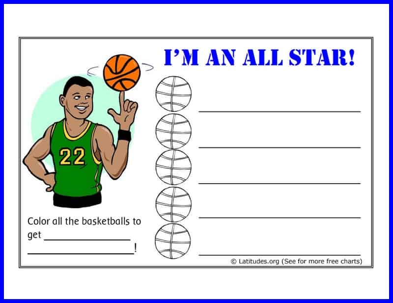 Basketball all star behavior chart