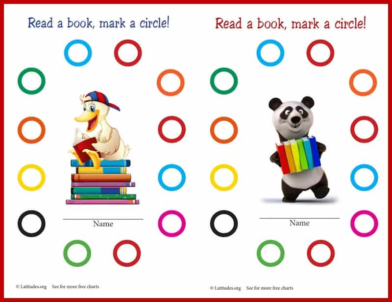 Free Printable Read a Book Behavior Chart