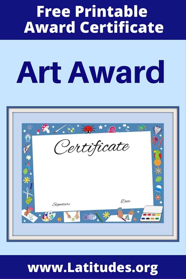 Art Achievement Certificate Pinterest