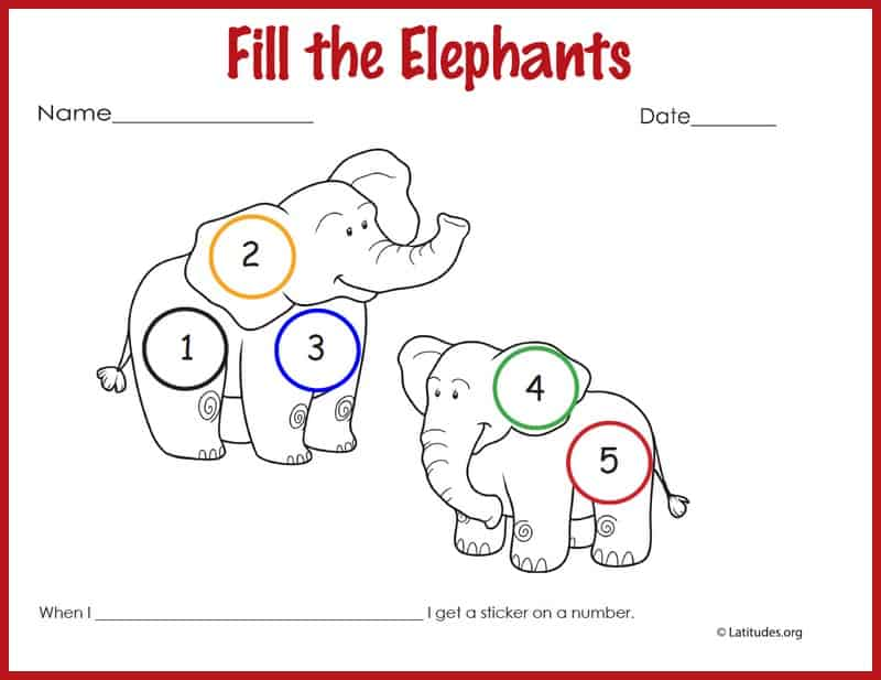 Fill the Elephants Behavior Chart Border