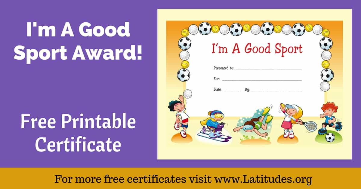 graphic about Free Printable Sports Certificates referred to as Absolutely free Award Certification - Im a Very good Recreation (Standard) ACN