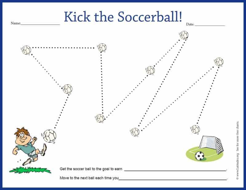 Kick the Soccer Ball Behavior Chart Border