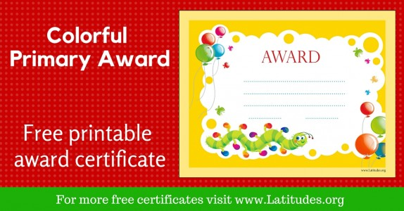 Primary Colorful Worm Award Certificate WordPress