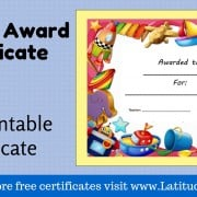 Primary Toy Award Certificate WordPress