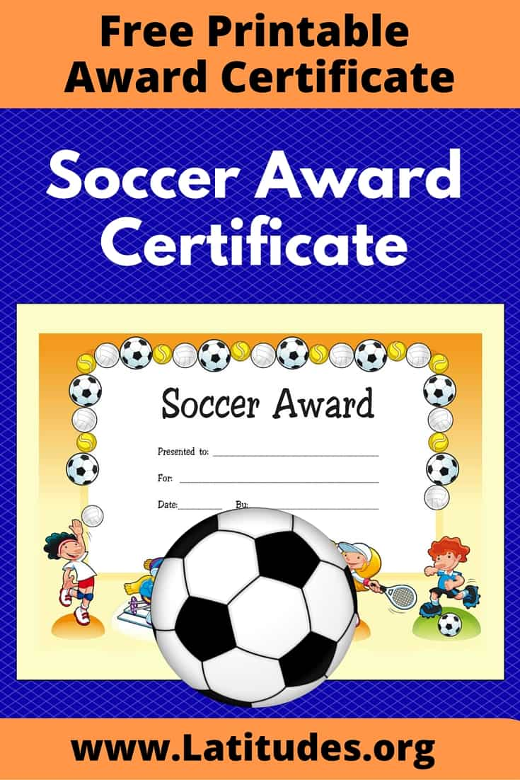 free award certificate for soccer primary acn latitudes