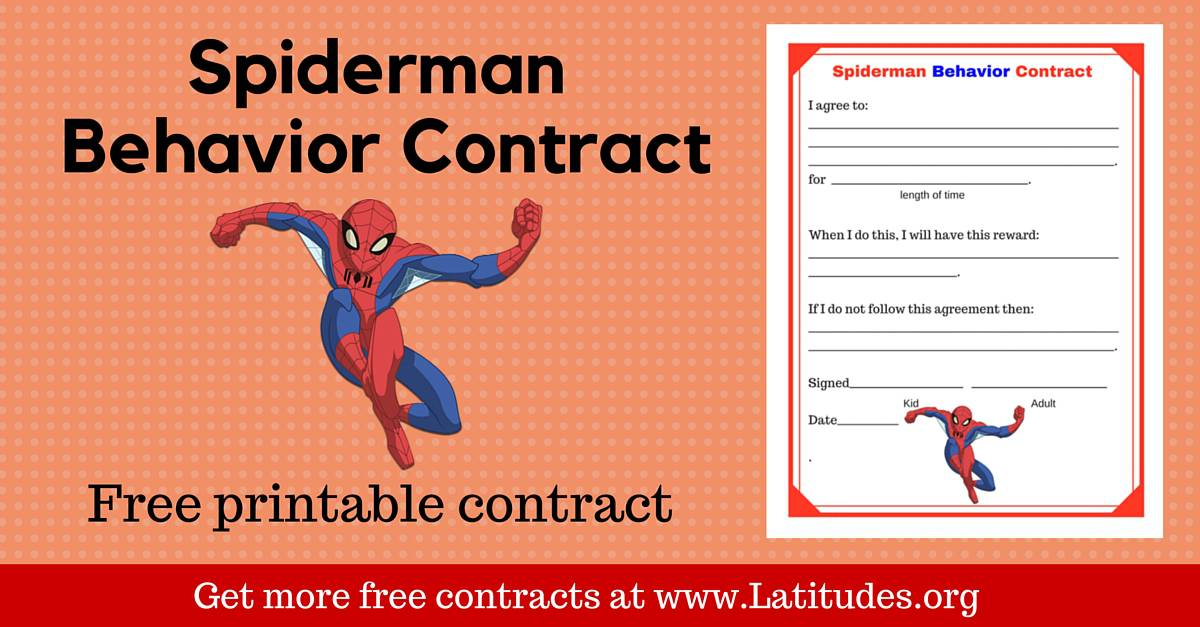 image relating to Behavior Contract Printable referred to as Totally free Spiderman Habits Deal ACN Laudes