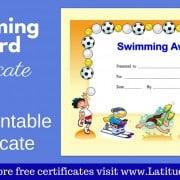 Swimming Award Certificate WordPress