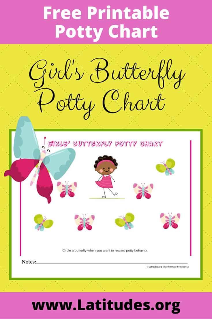 free potty training chart  girl u0026 39 s butterfly