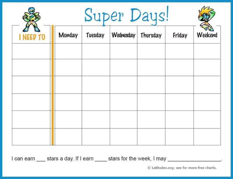 Free weekly behavior chart super days acn latitudes