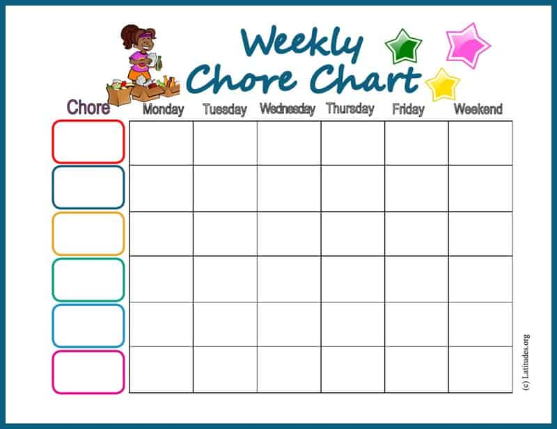 Weekly Star Chore Chart Border