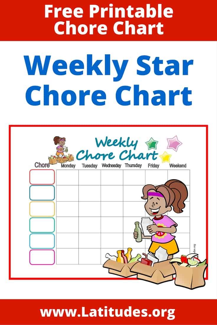Weekly Star Chore Chart Pinterest