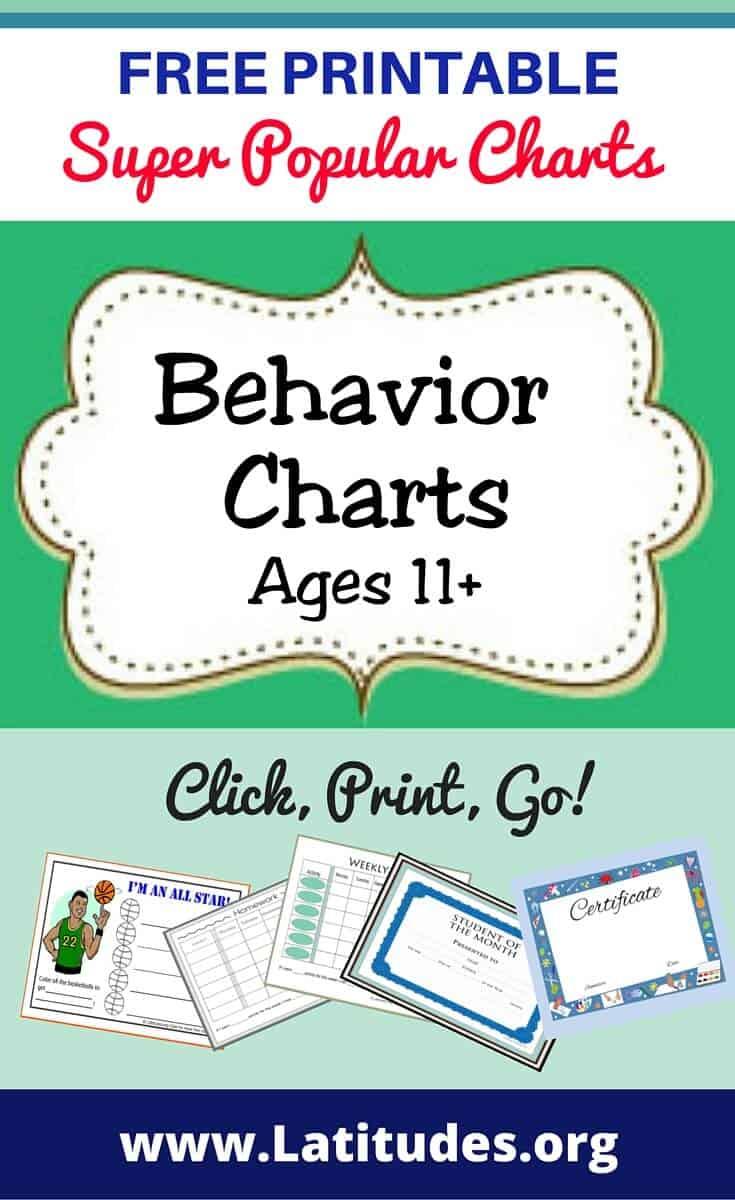 Behavior Charts Ages 11+ Pinterest
