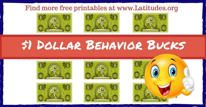 1 Dollar Green Behavior Bucks