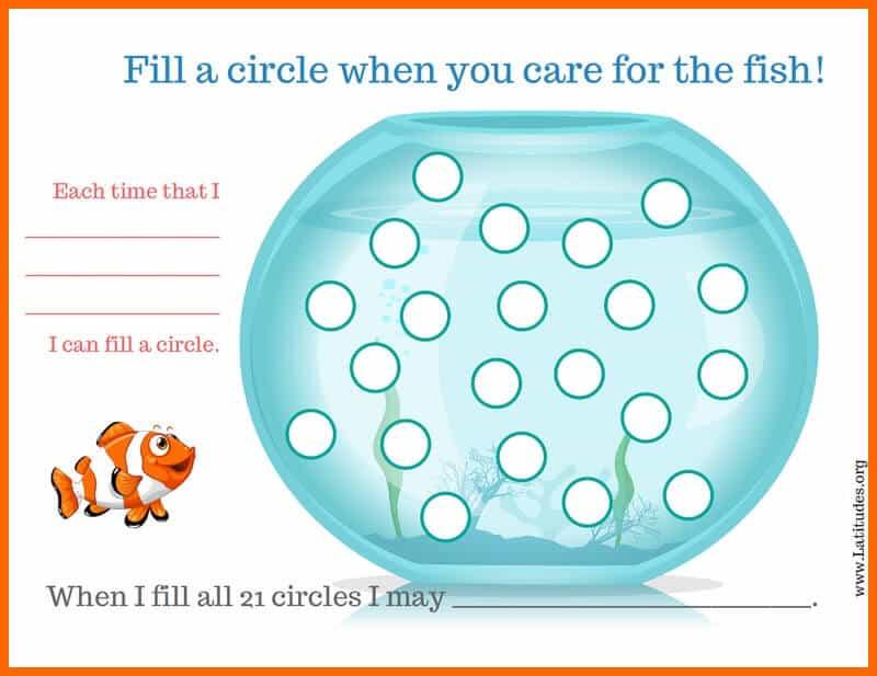 Fill Circles Fish Chore Chart Border