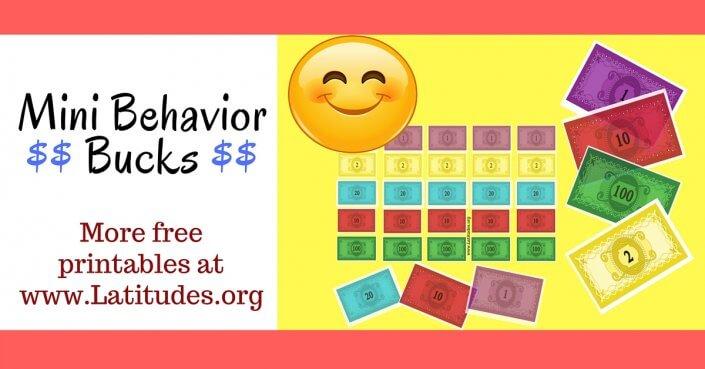 Mini Colorful Behavior Bucks