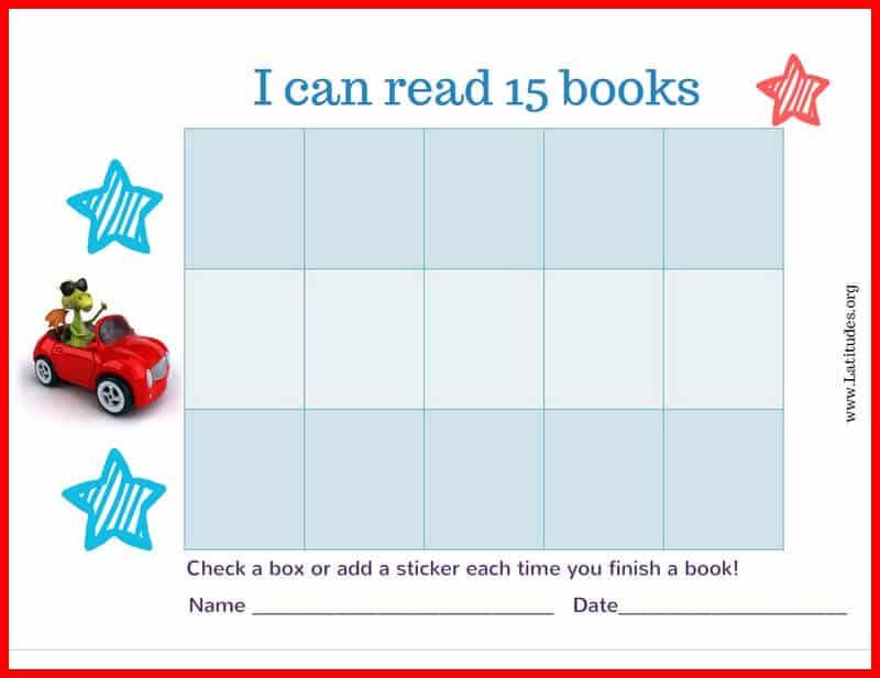 Read 15 Books Car Reading Chart Border