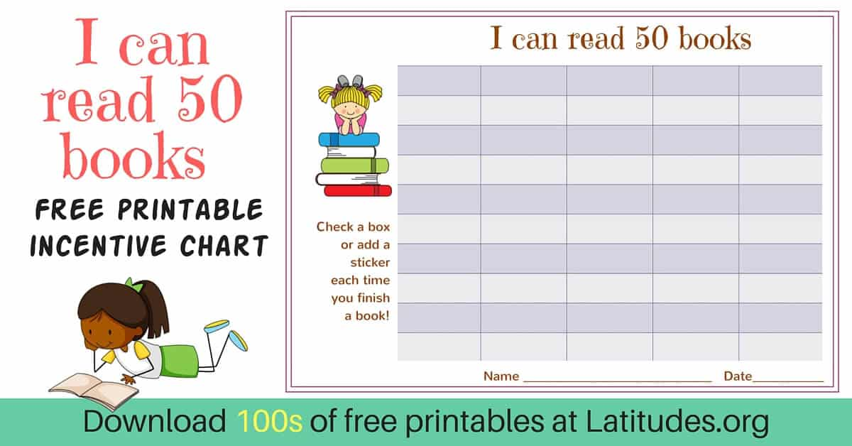 picture regarding Printable Reading Chart referred to as No cost Reading through Incentive Chart - Read through 50 Publications (Adorable Women
