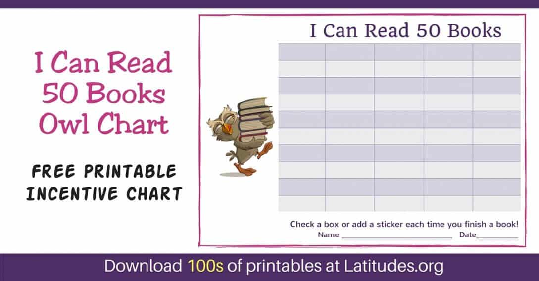 Read 50 Books Owl Reading Incentive Chart