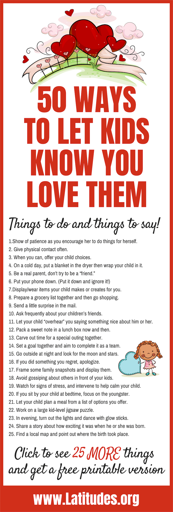 50 Ways to Let Kids Know You Love Them