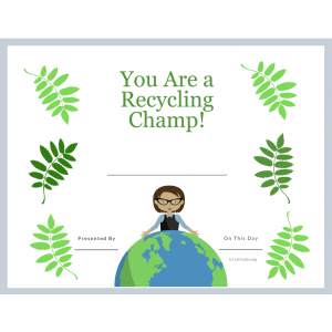 Being a Recycling Champ Award (Fillable)