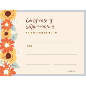 Certificate of Appreciation Flowers (Fillable)