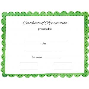 Certificate of Appreciation Green Polka Dot (Fillable)