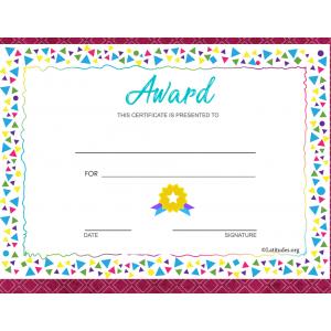 Colorful Border Award Certificate (Fillable)