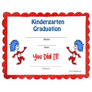 Dr Seuss Kindergarten Graduation Certificate (Fillable)