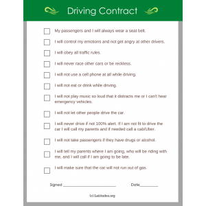 Driving Contract (Fillable)
