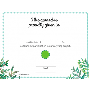 Ecology Recycling Award Certificate (Fillable)