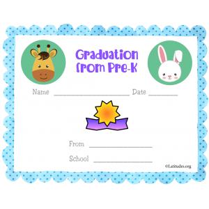 Graduation from PreK Blue Certificate