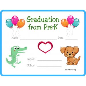 Graduation from PreK Certificate Animals (Fillable)
