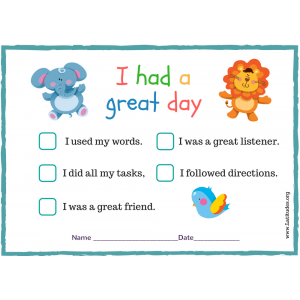 Had a Great Day Preschool Behavior Chart