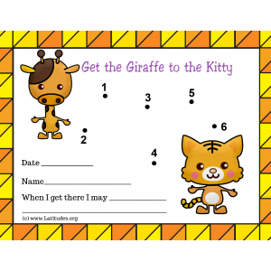 Help the Giraffe Get to The Kitty Toddler Reward Chart (Fillable)