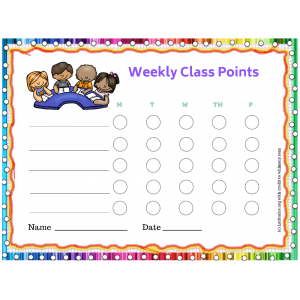 Kids Weekly Class Points Behavior Chart (Fillable)