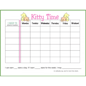 Kitty Time Routine Chore Chart (Fillable)
