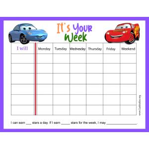Lightning McQueen Its Your Week Behavior Chart (Fillable)