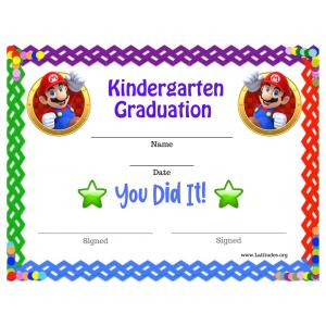 Mario Certificate for Graduation from Kindergarten (Fillable)