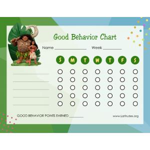 Moana 7 Day Good Behavior Chart (Fillable)
