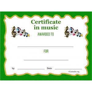 Music Certificate Award (Fillable)