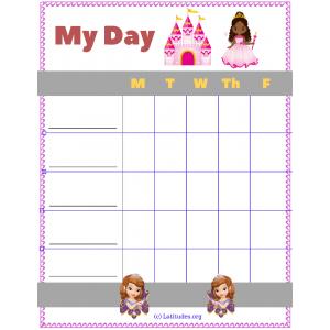 My Day Princess Sticker Chart (Fillable)