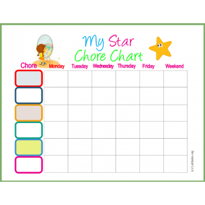 My Weekly Star Chore Chart