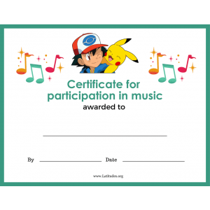 Pokemon Music Participation Certificate