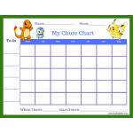 Pokemon Star Chore Chart (Fillable)