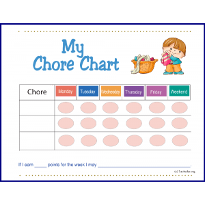 Pre-K Boy First Chore Chart (Fillable)