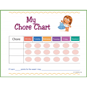 Pre-K Girl First Chore Chart (Fillable)